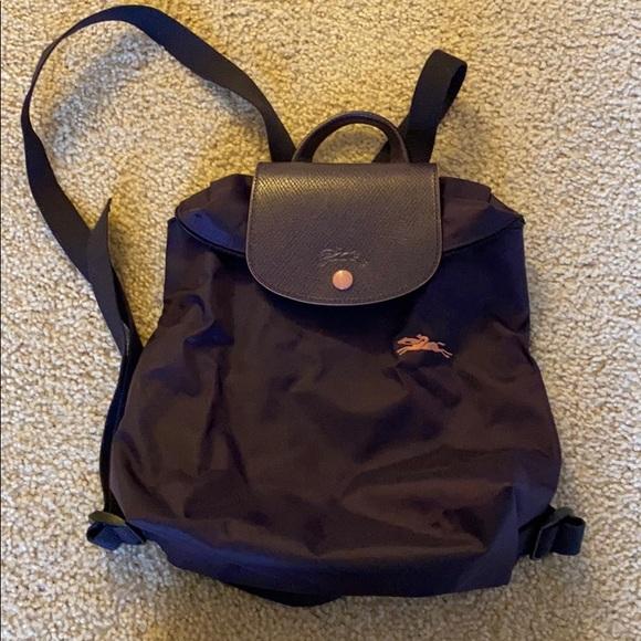 Longchamp NWOT Le Pliage Club Backpack Dark Purple